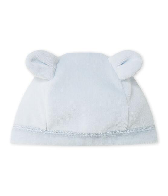 Bonnet de naissance bébé mixte en velours bleu Fraicheur