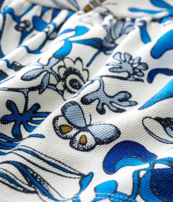 Blouse manches courtes bébé fille en jersey piqué imprimé blanc Marshmallow / blanc Multico