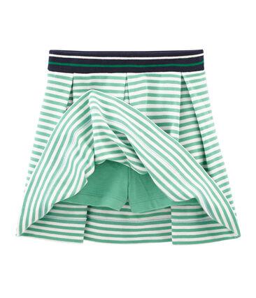 Jupe-short enfant fille vert Aloevera / blanc Marshmallow