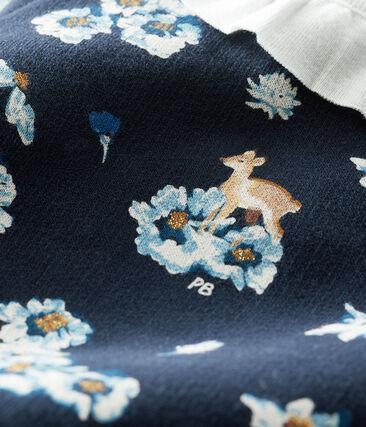 Robe manches longues bébé fille imprimée bleu Smoking / blanc Multico