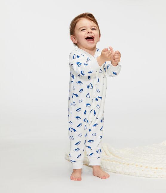 Ensemble nuit bébé en bouclette éponge grattée extra chaude blanc Marshmallow / bleu Major