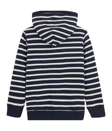 Sweatshirt à capuche enfant garçon blanc Marshmallow / bleu Smoking