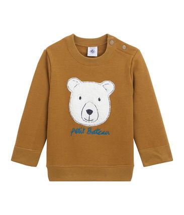 Sweatshirt bébé garçon en molleton blanc Marshmallow / bleu Crystal
