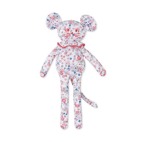 Doudou bébé souris imprimé blanc Ecume / rose Gretel