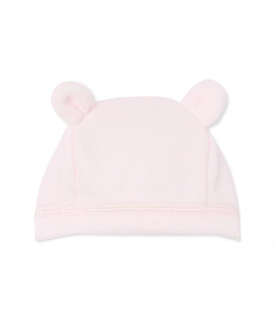 Bonnet de naissance bébé mixte en velours rose Vienne
