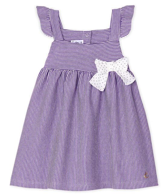 Robe bébé fille milleraies violet Real / blanc Marshmallow