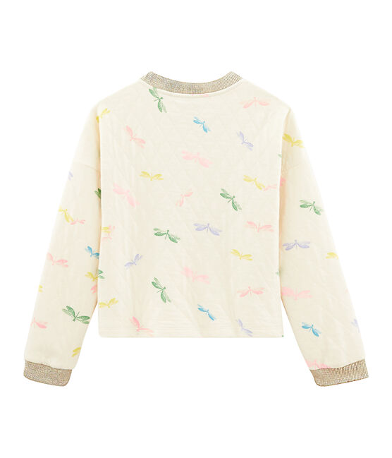 Sweat shirt enfant fille beige Coquille / blanc Multico