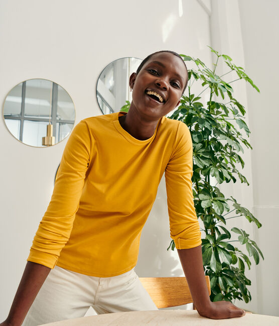 T-shirt coton Sea Island Femme jaune Boudor