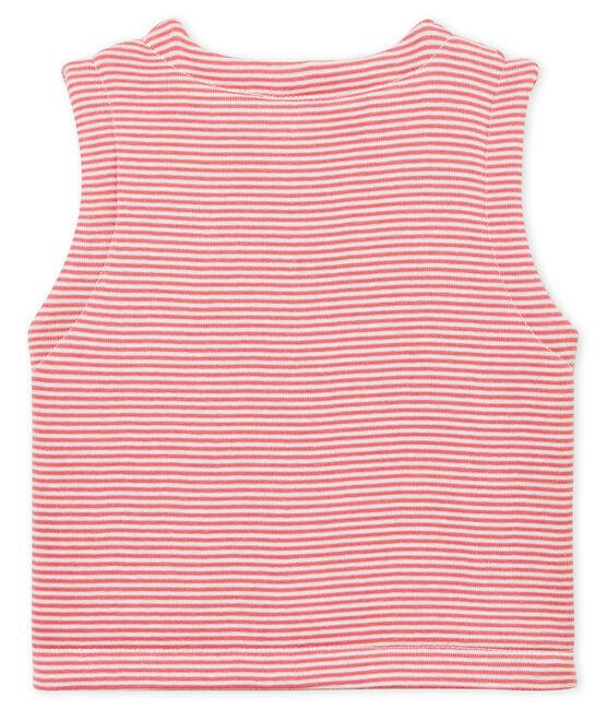 Gilet sans manches bébé en côte rose Cheek / blanc Marshmallow