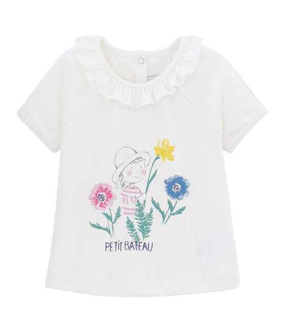 Tee-shirt uni bébé fille blanc Marshmallow / blanc Multico