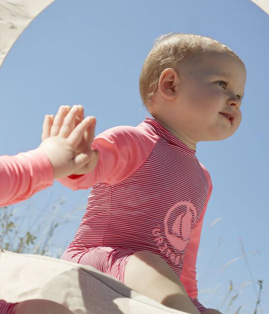 Combinaison écoresponsable bébé fille/garçon rose Geisha / blanc Marshmallow