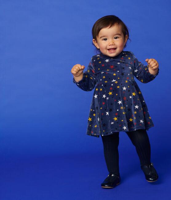 Robe manches longues bébé fille bleu Medieval / blanc Multico