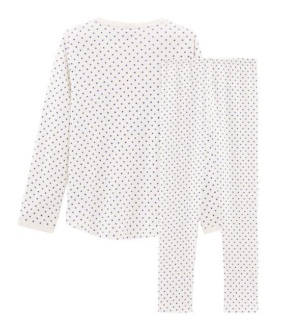 Pyjama petite fille en côte blanc Marshmallow / bleu Major Cn