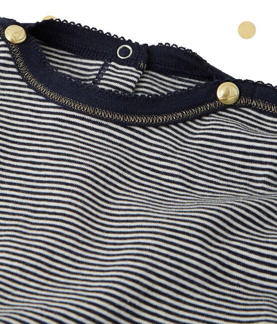 Robe fille manches longues effet 2 en 1 Petit bateau x Marie-Agnès Gillot bleu Smoking / beige Coquille