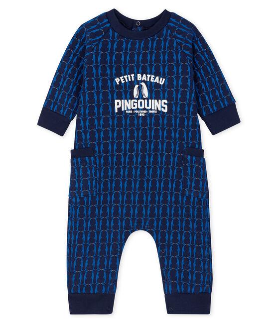 Combinaison longue bébé garçon en molleton bleu Smoking / blanc Multico