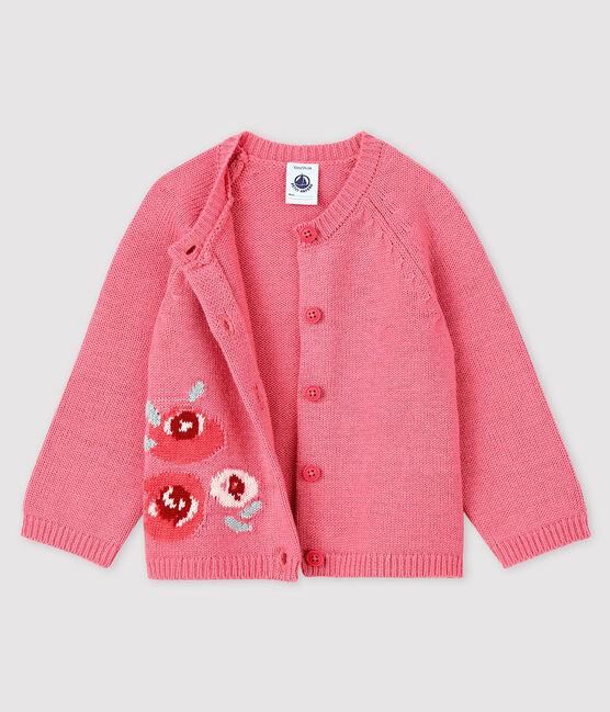 Cardigan bébé fille avec jacquard rose Cheek
