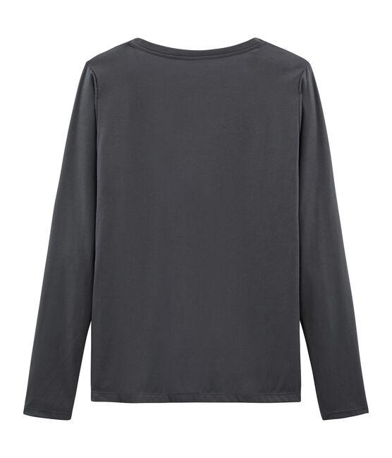 Tee-shirt manches longues femme en coton sea island gris Maki