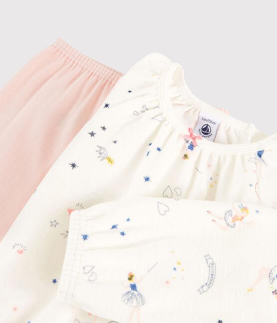 Chemise de nuit imprimé féérique petite fille en velours avec legging blanc Marshmallow / blanc Multico