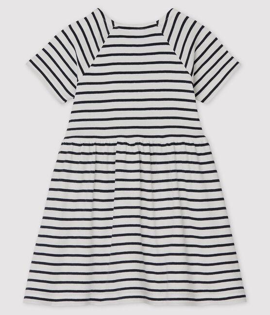 Robe manches courtes bébé fille rayée blanc Marshmallow / bleu Smoking