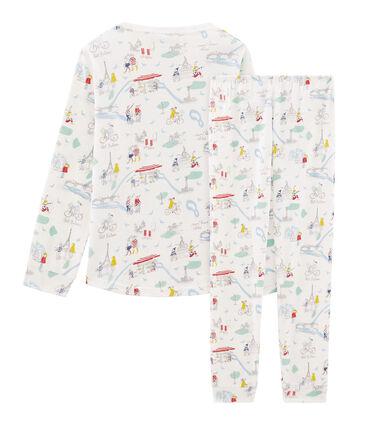 Pyjama petite fille en côte blanc Marshmallow / blanc Multico Cn