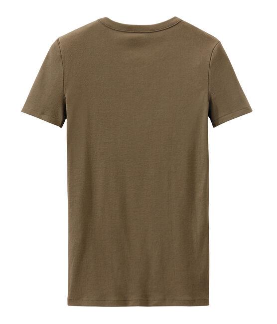 T-shirt femme en côte originale marron Shitake