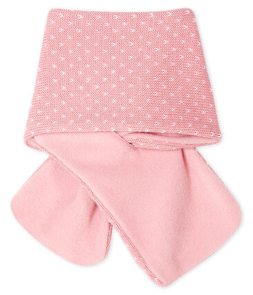 Echarpe bébé mixte doublée polaire rose Charme / blanc Marshmallow