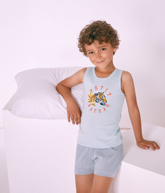 Pyjacourt petit garçon en côte bleu Fontaine / blanc Marshmallow