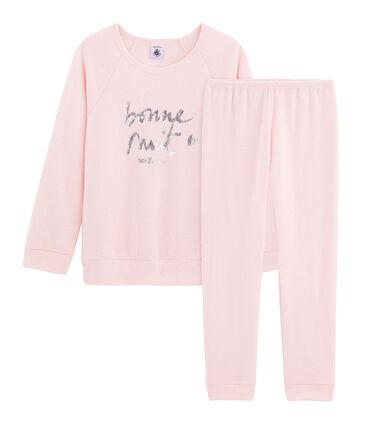Pyjama petite fille en bouclette éponge grattée extra chaude rose Minois