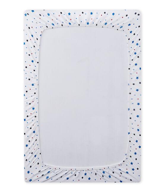 Drap housse bébé garçon à étoiles blanc Ecume / blanc Multico