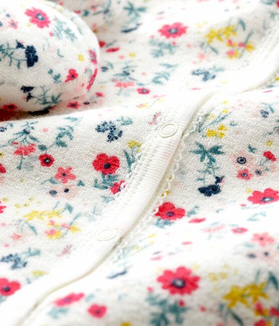Ensemble nuit bébé fille en bouclette éponge blanc Marshmallow / blanc Multico