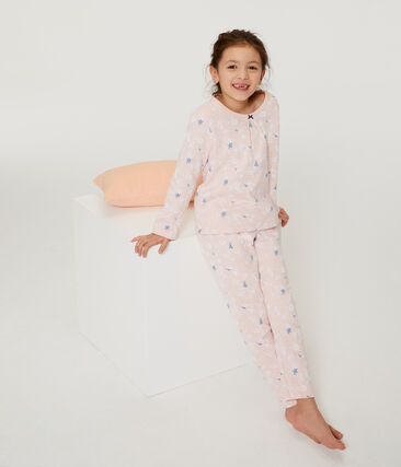 Pyjama petite fille en molleton rose Minois / blanc Multico