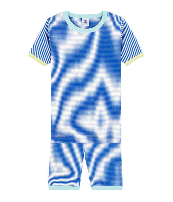 Pyjacourt petit garçon coupe très ajustée bleu Pablito / blanc Marshmallow