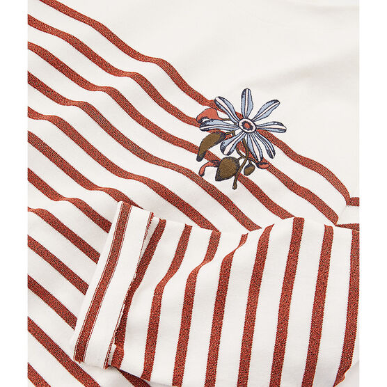 Marinière manches longues femme blanc Marshmallow / rose Copper
