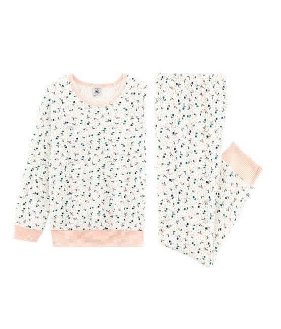 Pyjama petite fille en bouclette éponge grattée blanc Marshmallow / blanc Multico