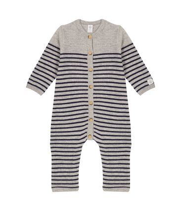 Combinaison longue bébé en 100% cachemire gris Subway / bleu Smoking