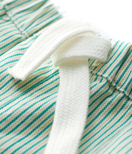 Short rayé en serge craquante bébé garçon blanc Marshmallow / vert Gazon