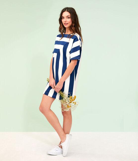 Robe femme bleu Medieval / blanc Marshmallow