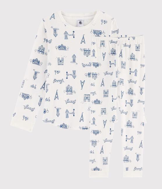 Pyjama enfant imprimé Paris en côte blanc Marshmallow / bleu Major