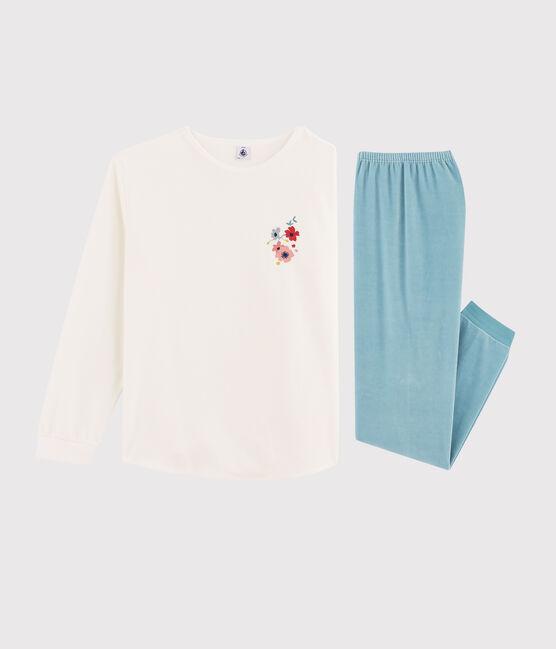 Pyjama fille / femme en velours MARSHMALLOW/BRUME