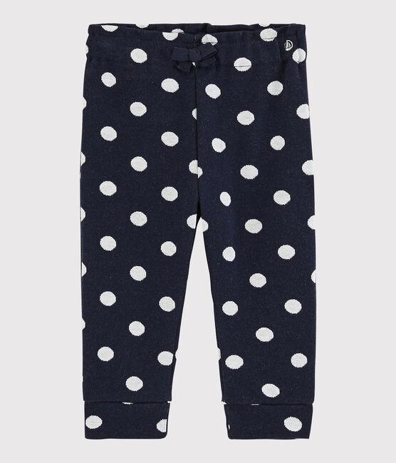 Pantalon bébé fille à pois bleu Smoking / blanc Marshmallow