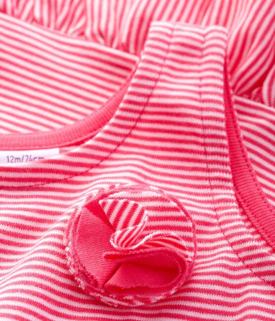 Robe sans manches bébé fille en maille rose Geisha / blanc Marshmallow