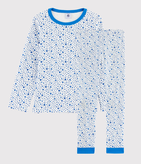 Pyjama à étoiles bleues petit garçon en tubique blanc Marshmallow / blanc Multico