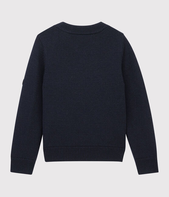 Pull en laine et coton enfant bleu Smoking