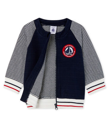 Cardigan zippé bébé garçon en tubique bleu Smoking / blanc Marshmallow Cn