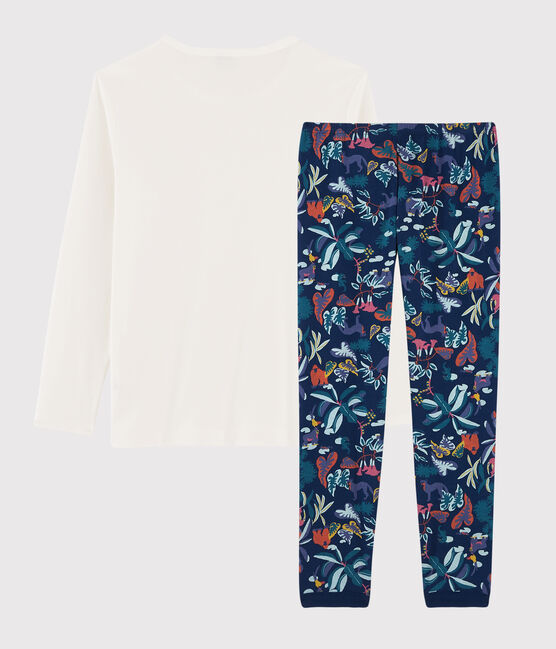 Pyjama imprimé jungle mixte en côte bleu Medieval / blanc Multico