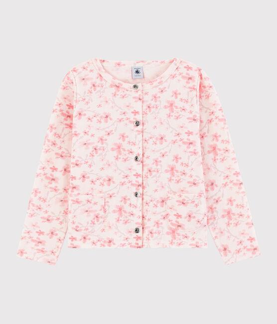Cardigan en jersey piqué enfant fille rose Fleur / blanc Multico