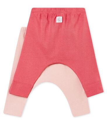 Lot de deux leggings bébé mixte en côte 1x1 grattée unie