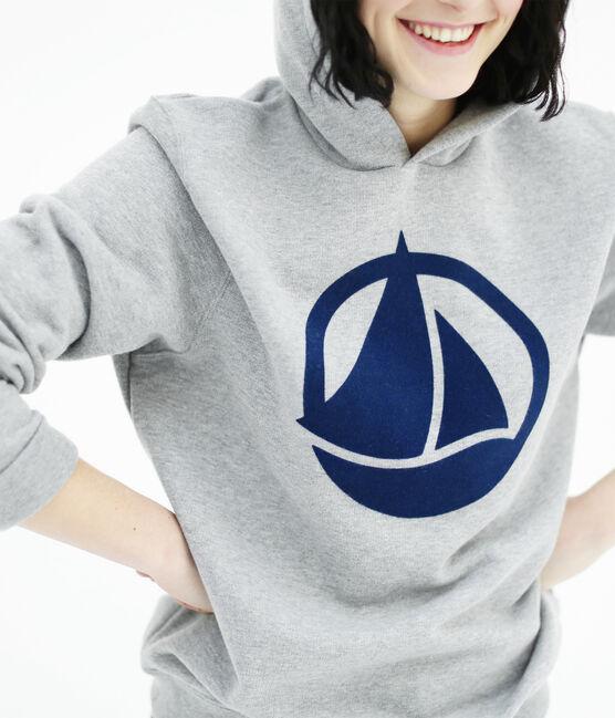 Sweatshirt adulte unisexe en molleton flocké gris Subway