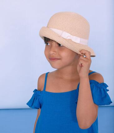 Chapeau de paille enfant fille rose Naturel