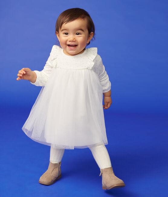 Robe manches longues bébé fille blanc Marshmallow / gris Argent